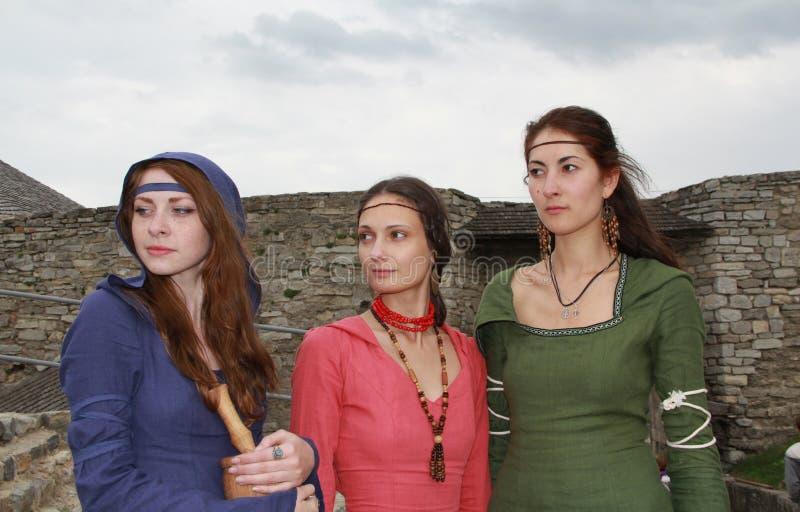 Meninas medievais imagens de stock