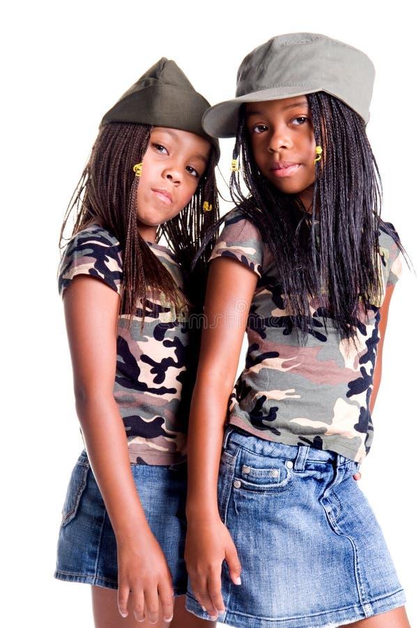 Meninas militares imagem de stock royalty free