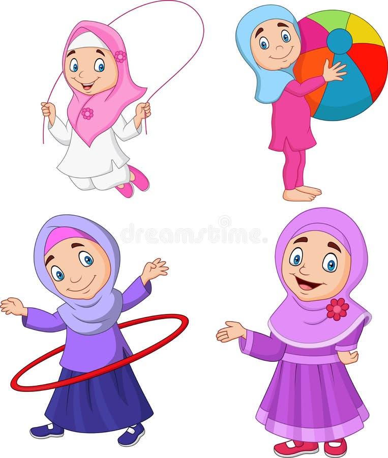 Meninas muçulmanas dos desenhos animados com passatempos diferentes ilustração royalty free