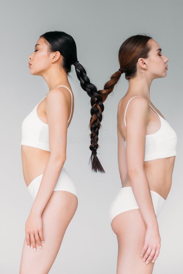 meninas multiculturais atrativas elegantes com cabelo em uma trança imagens de stock royalty free