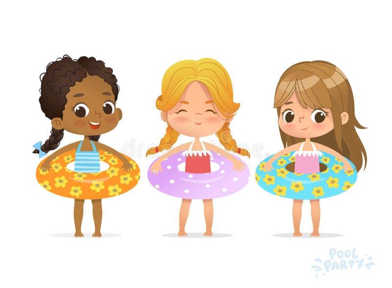 Meninas multirraciais no círculo inflável O amigo da crian?a relaxa na festa na piscina multirracial do ver?o com anel infl?vel E ilustração stock