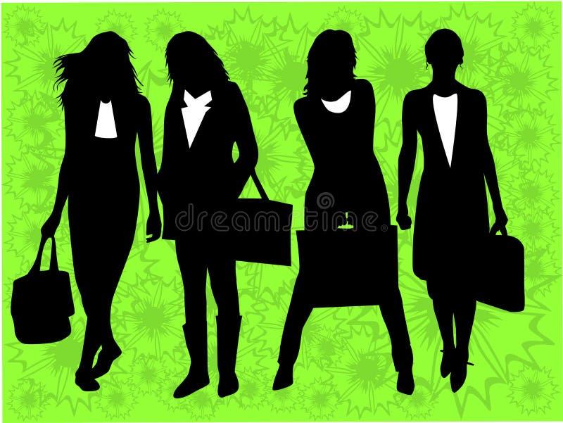 Meninas na compra - fundo da mola ilustração do vetor