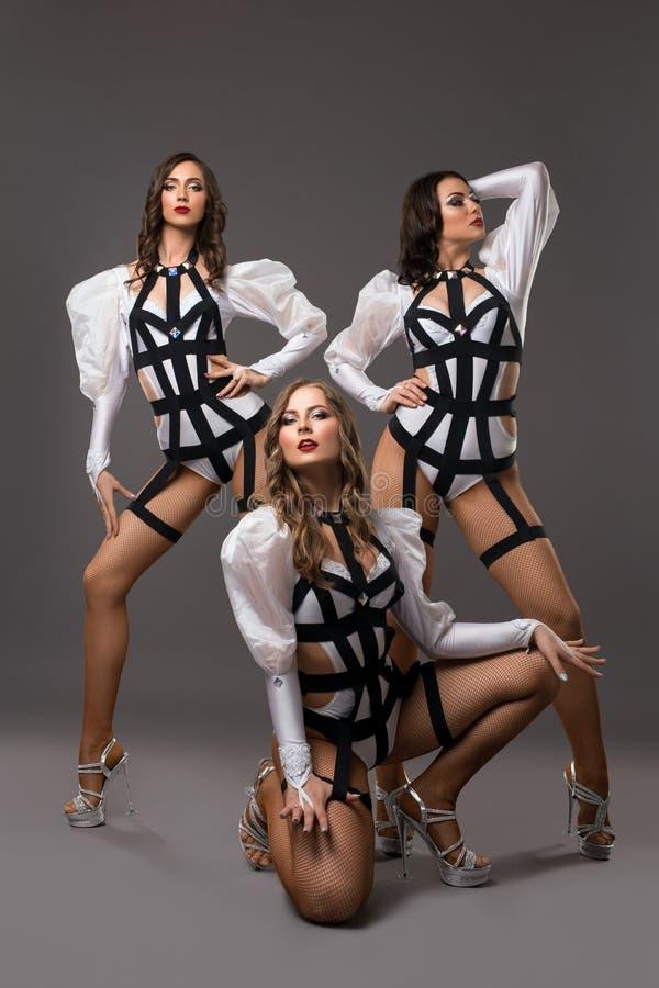 Meninas na opinião 'sexy' dos trajes do bdsm fotos de stock royalty free