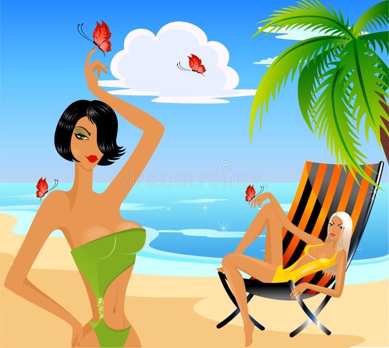 Meninas na praia ilustração stock