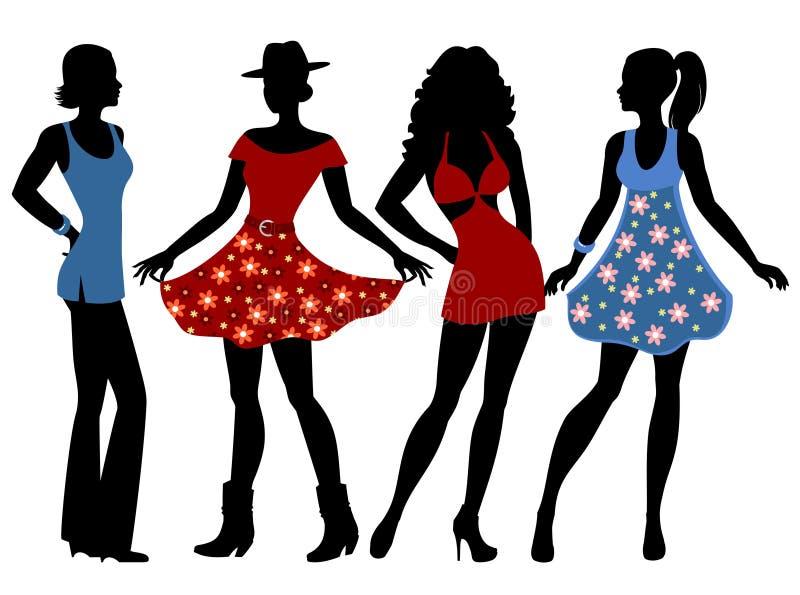 meninas na roupa do verão ilustração royalty free