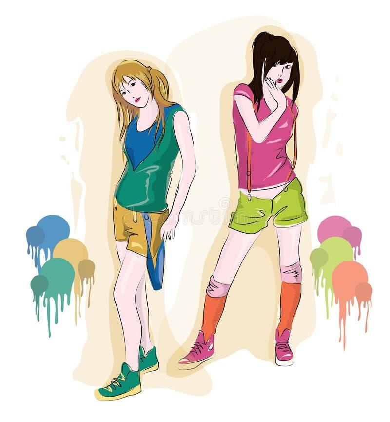 Meninas na roupa do verão ilustração do vetor