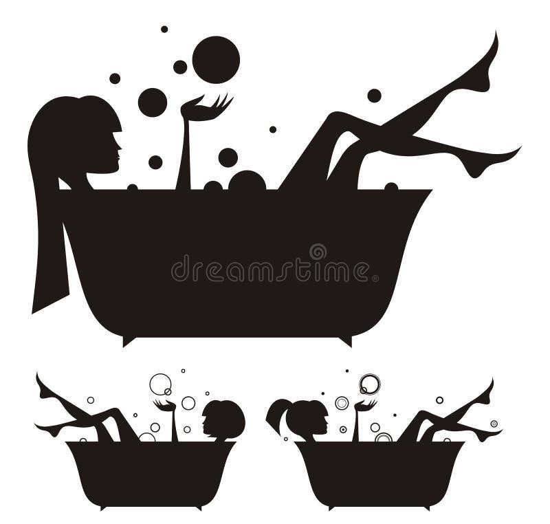 Meninas no banho ilustração stock