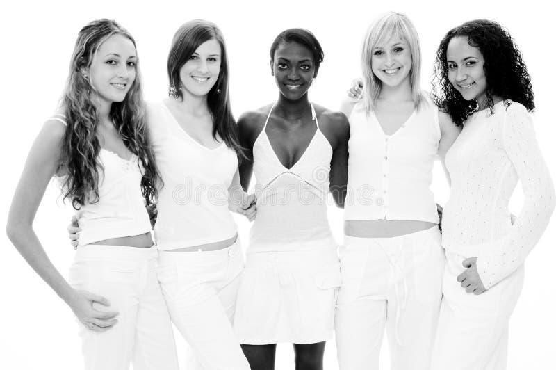 Meninas no branco fotografia de stock royalty free