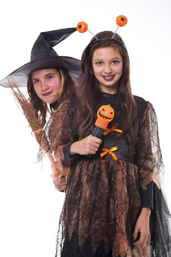 Meninas no traje de Halloween foto de stock royalty free
