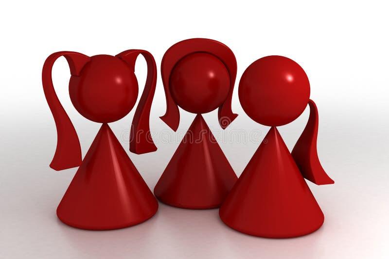 Meninas no vermelho ilustração royalty free