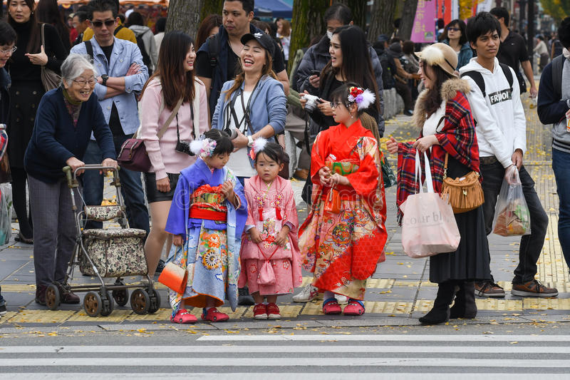 Meninas no vestido do quimono, Japão imagem de stock royalty free