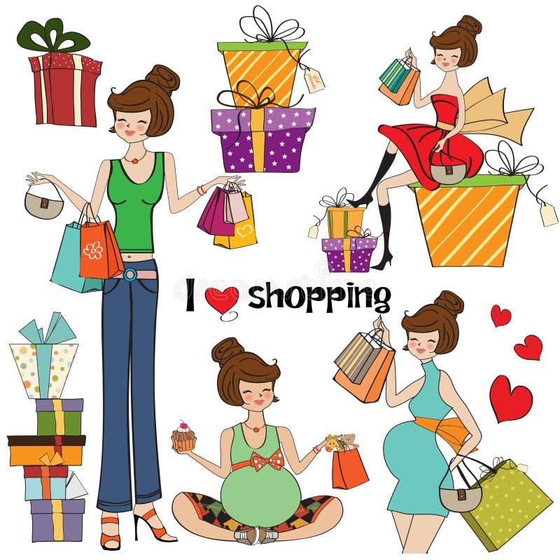 Meninas nos artigos da compra ajustados ilustração stock