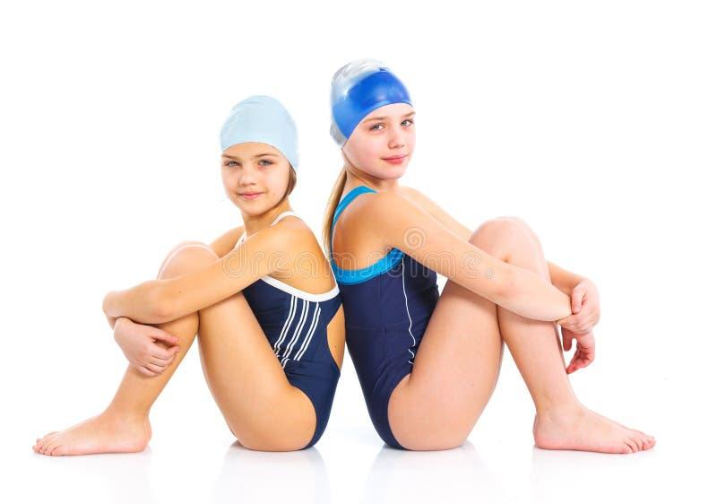 Meninas novas do nadador fotografia de stock royalty free