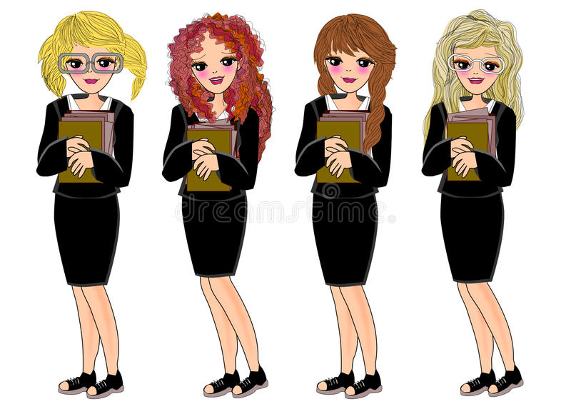 Meninas novas do trabalhador de escritório ilustração stock