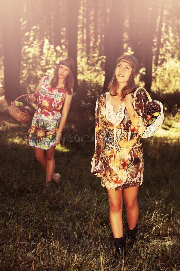 Meninas novas felizes da forma com uma cesta de fruto que andam na floresta do verão fotografia de stock royalty free