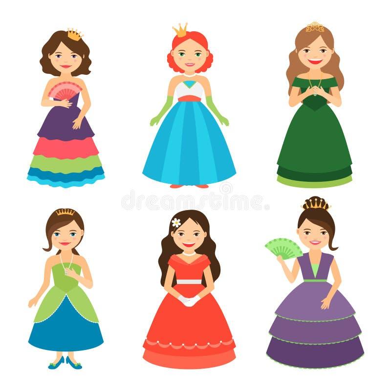 Meninas pequenas da princesa com tiaras ilustração royalty free