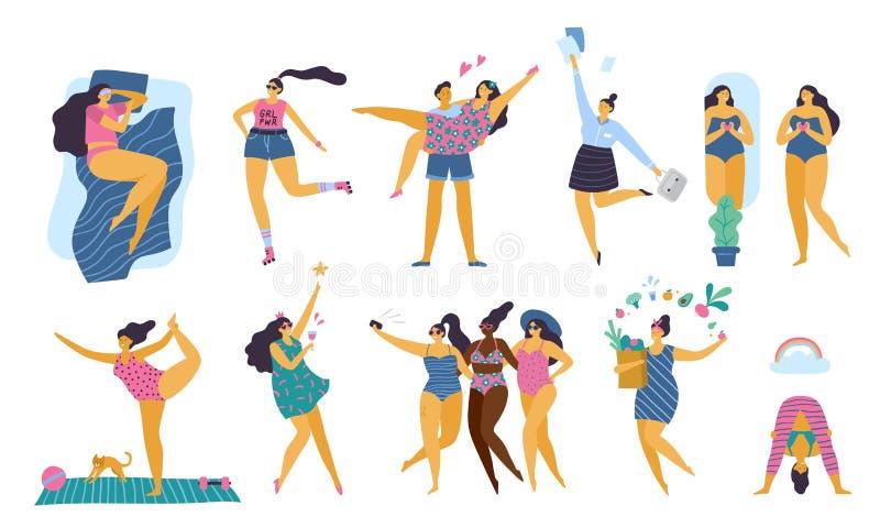 Meninas positivas do corpo feliz com o estilo de vida saudável que faz a ioga, o esporte, o amor e o divertimento ilustração do vetor