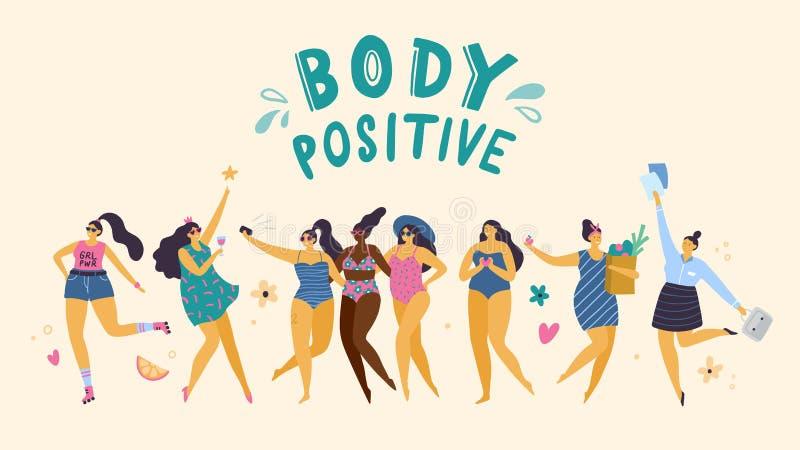 Meninas positivas felizes do tamanho na pose diferente: esporte, partido, amor, cuidados médicos e trabalho ilustração stock