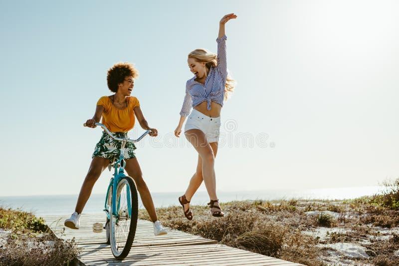 Meninas que apreciam suas f?rias na praia fotos de stock