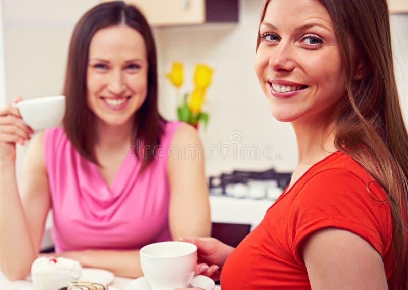 Meninas que bebem o café e a fala imagens de stock royalty free