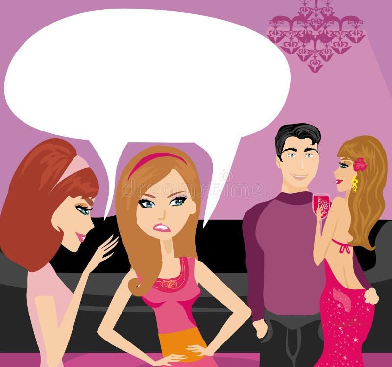 Meninas que bisbilhotam aproximadamente um par de amantes ilustração stock