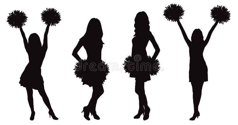 Meninas que cheerleading o dançarino com pompoms, silhueta Ilustração do vetor ilustração royalty free