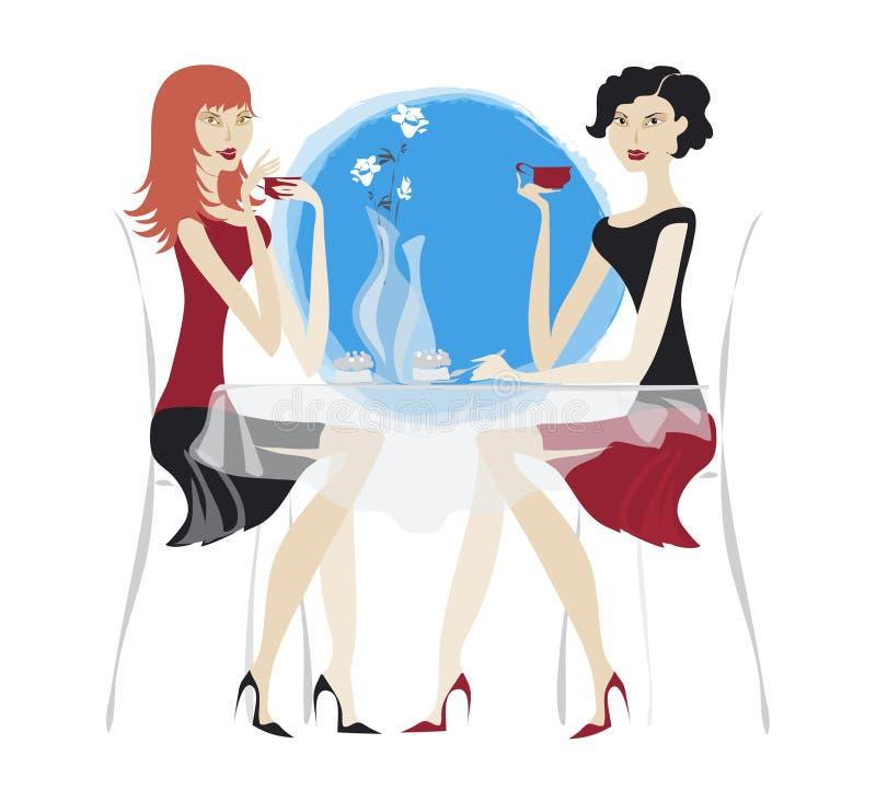 Meninas que comem o café ilustração stock