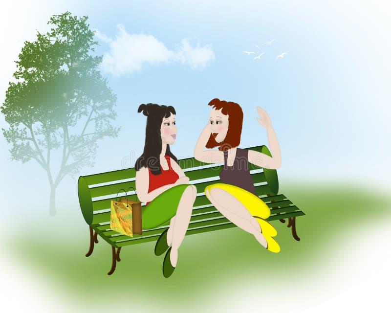 Meninas que conversam no parque ilustração royalty free