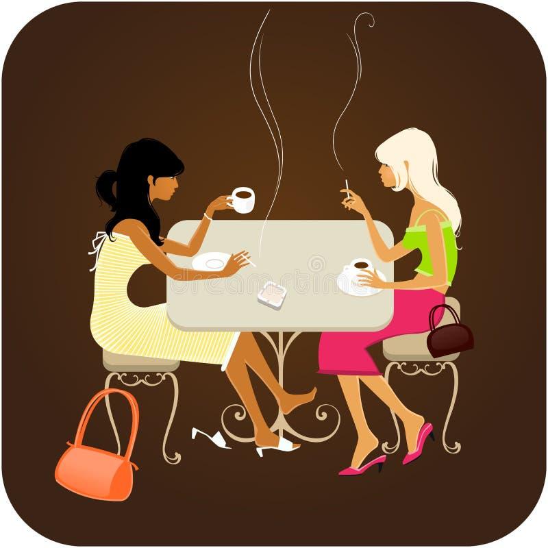 Meninas que conversam sobre o café ilustração stock