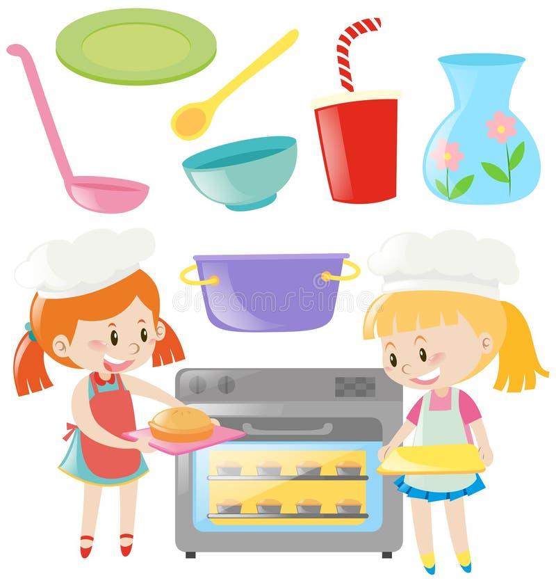 Meninas que cozem e utensílios da cozinha ajustados ilustração do vetor