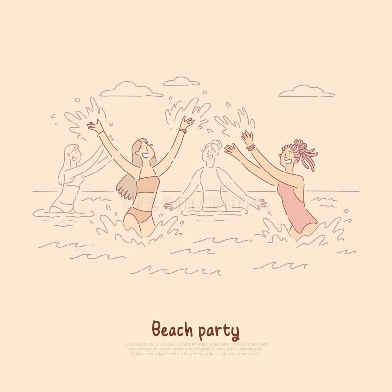 Meninas que dançam no mar, apreciando férias de verão, divertimento do partido da praia, bandeira da celebração ilustração stock