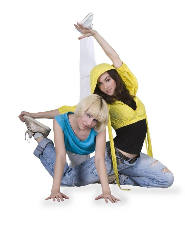 Meninas que dançam o breakdance na ação imagens de stock