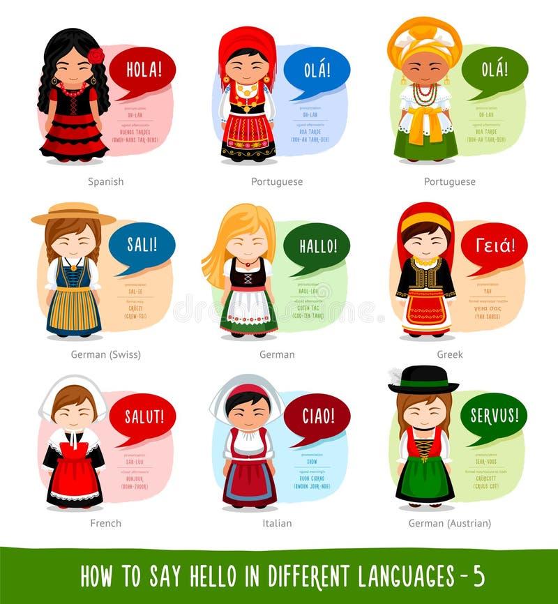 Meninas que dizem o olá! em línguas estrangeiras ilustração stock