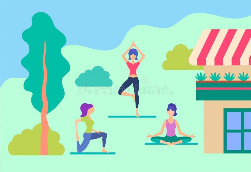 Meninas que fazem a ioga no gramado perto da casa ilustração royalty free