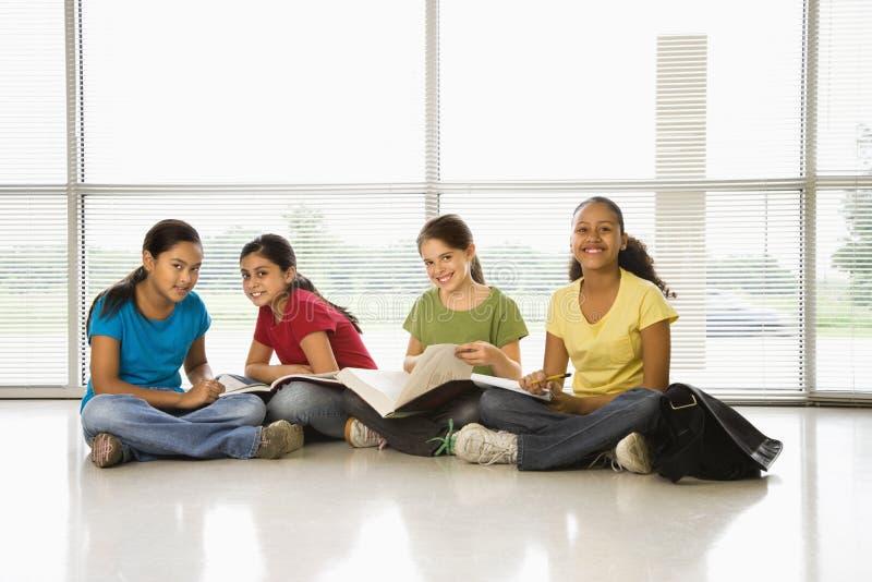 Meninas que fazem o schoolwork. imagens de stock