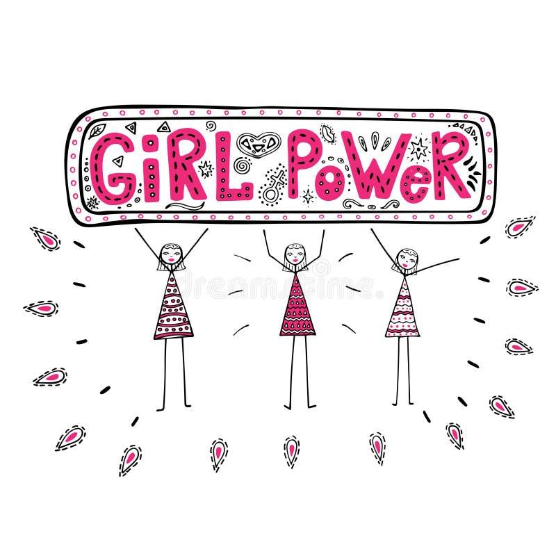 Meninas que guardam um cartaz com poder da menina da frase, ilustração do gráfico colorido no estilo da garatuja, com objetos fem ilustração stock