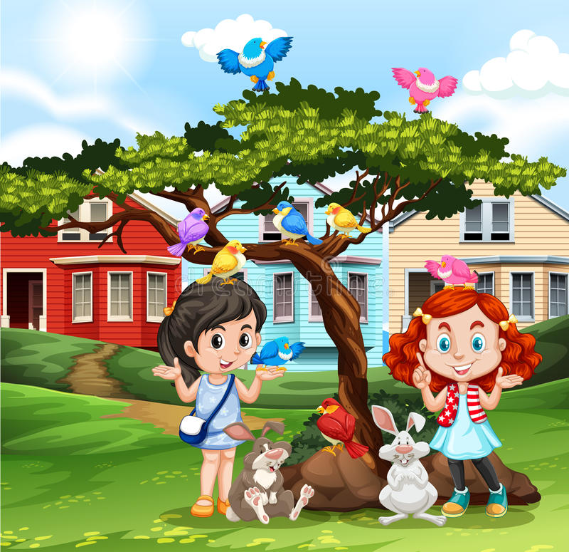 Meninas que jogam com animais fora ilustração do vetor