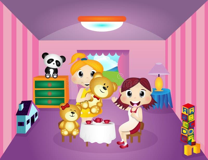 Meninas que jogam com Teddy Bear em sua sala ilustração stock