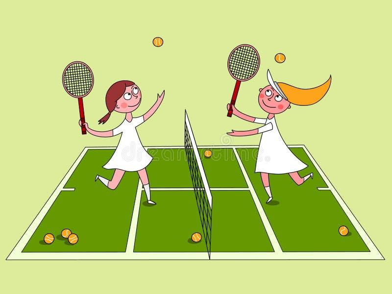 Meninas que jogam o tênis ilustração stock