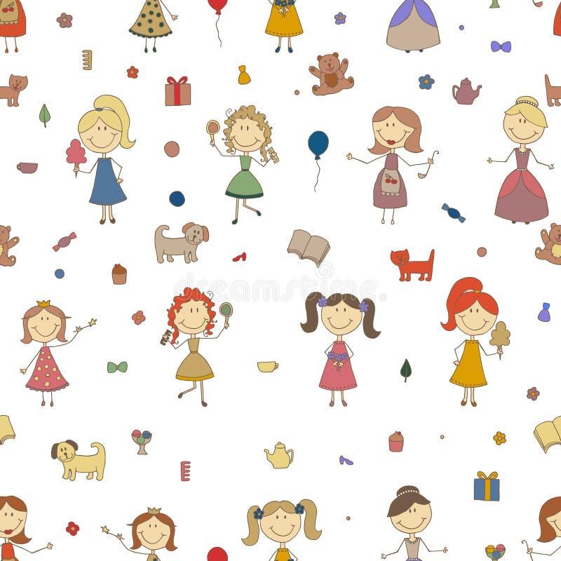 Meninas que jogam o vetor Desenho dos desenhos animados das crianças Filha e mãe Fundo sem emenda do teste padrão das meninas ilustração stock