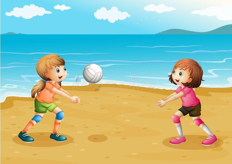 Meninas que jogam o voleibol na praia ilustração royalty free