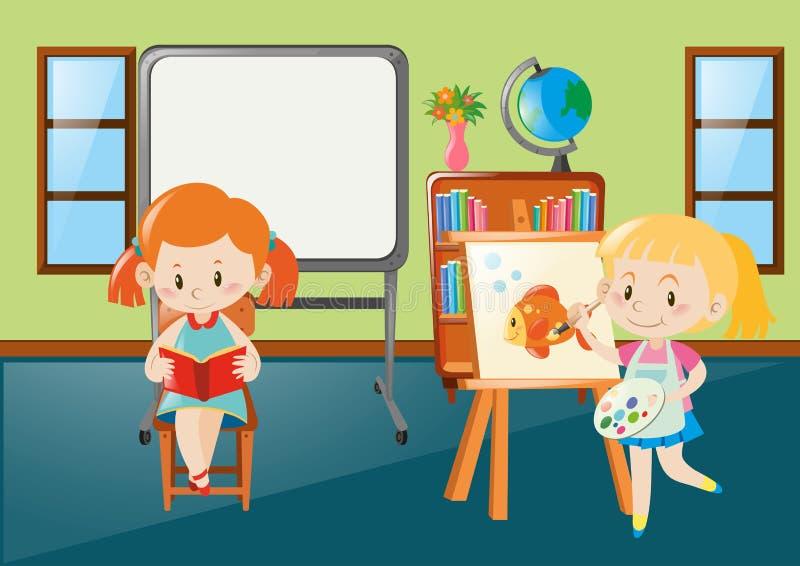 Meninas que leem e que tiram na sala de aula ilustração royalty free