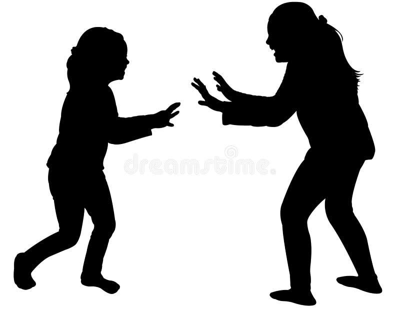 Meninas que lutam o vetor da silhueta ilustração stock