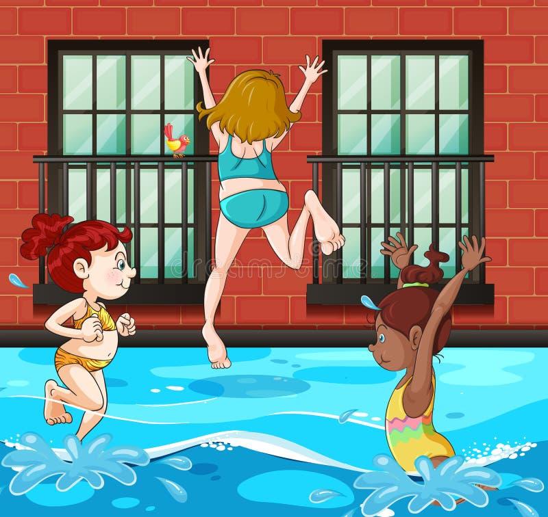 Meninas que mergulham e que nadam na associação ilustração stock