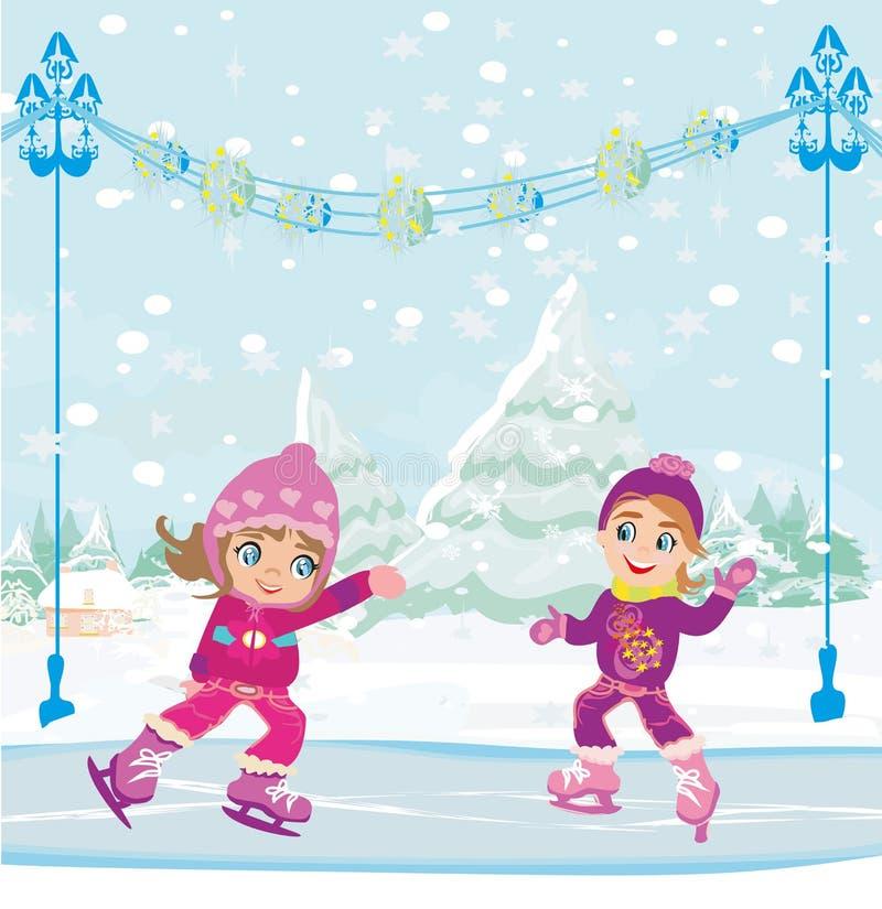 Meninas que patinam na pista de gelo ilustração do vetor