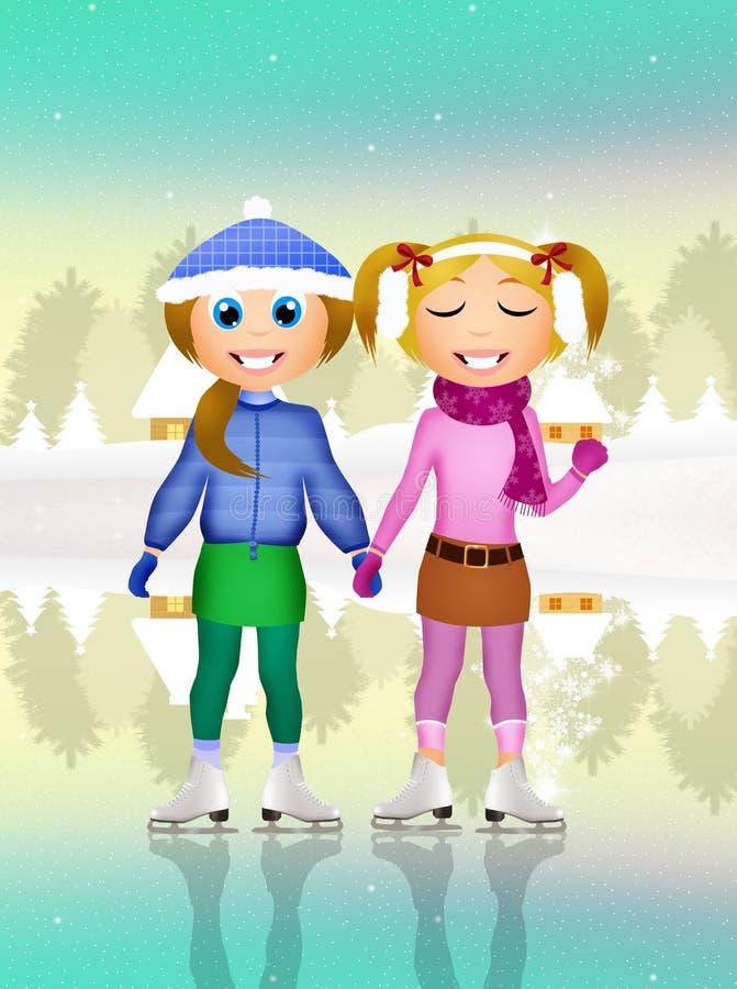 Meninas que patinam no gelo ilustração stock