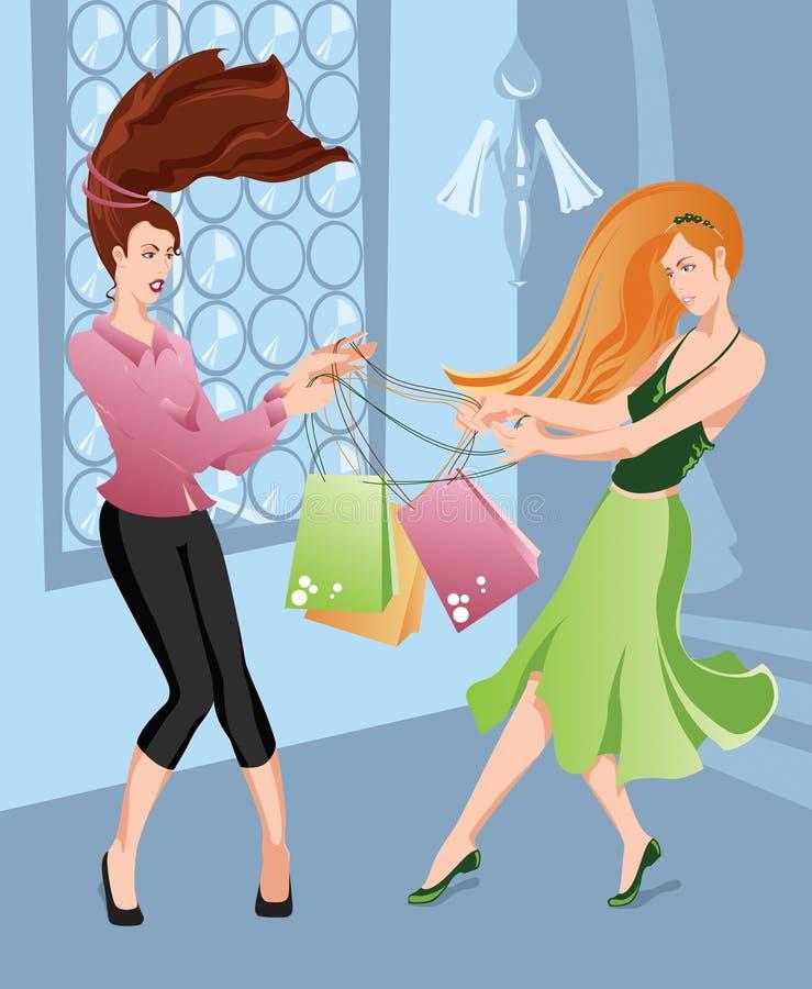 Meninas que shoping ilustração do vetor
