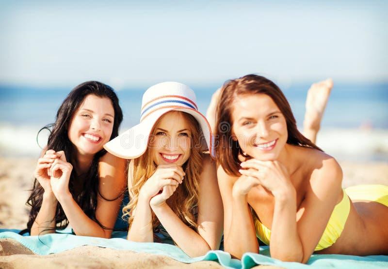 Meninas que tomam sol na praia imagem de stock