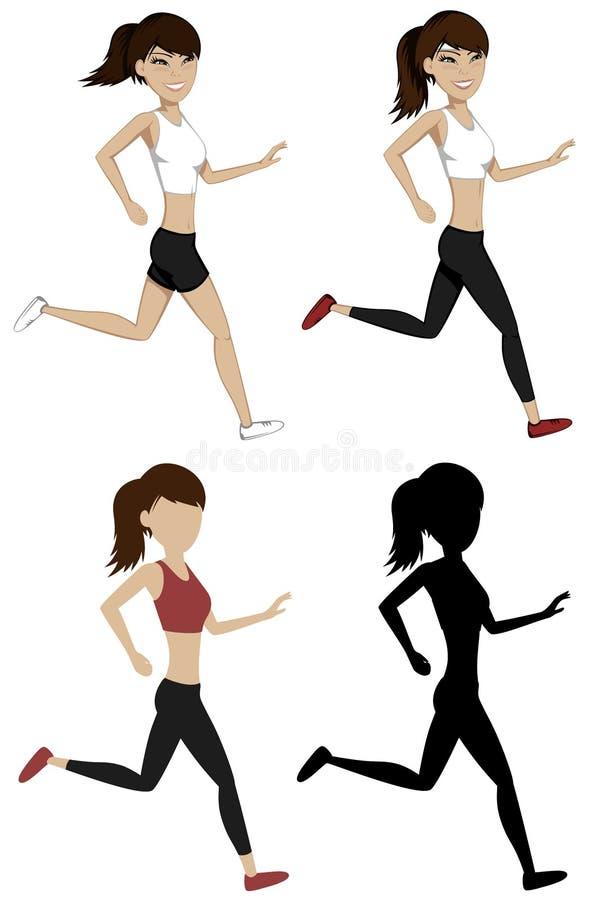 Meninas Running ilustração do vetor