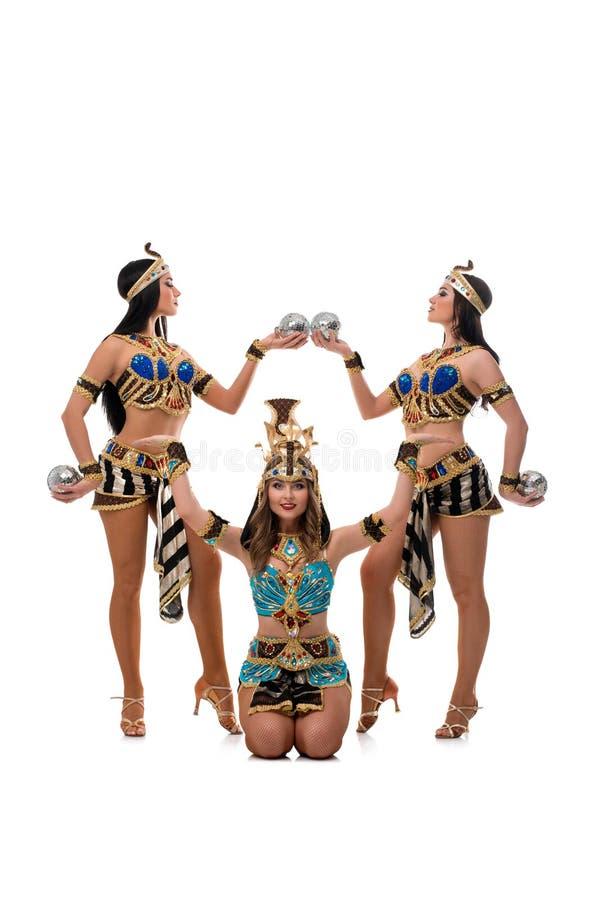 Meninas 'sexy' trajes egípcios no tiro isolado imagem de stock royalty free